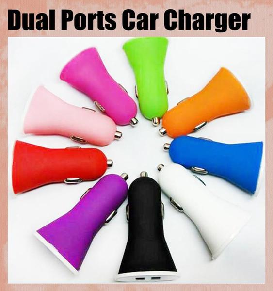 Général Voiture Chargeur avec Double Interface Matte Sentiment 5 V 3A Micro Auto Puissance Adaptateur Trompette Style fit pour iphone ipad samsung HTC CAB020