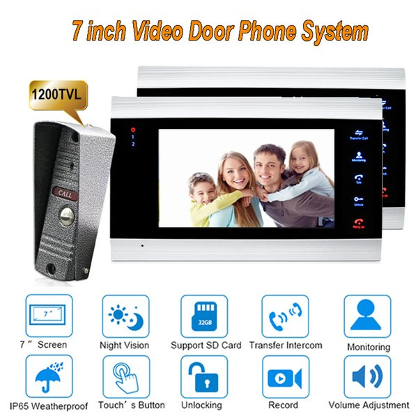 2017 New 7 inch 1200TVL Video Door Phone Doorbell Intercom system With IP65 Camera DoorPhone 1 camera 2 monitors
