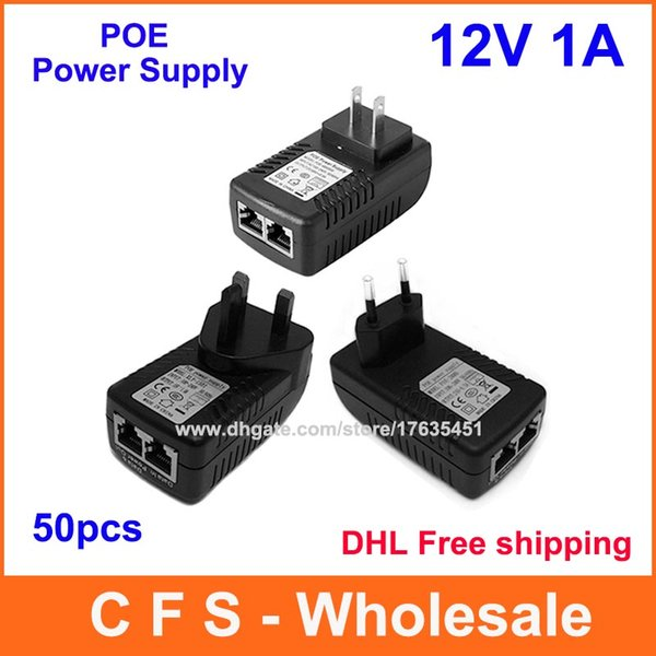 top popular DHL Free shipping DC 12V 1A Wall Plug POE Injector Ethernet Adapter IP Phone   Camera Power Supply High Quality 50pcs 2021