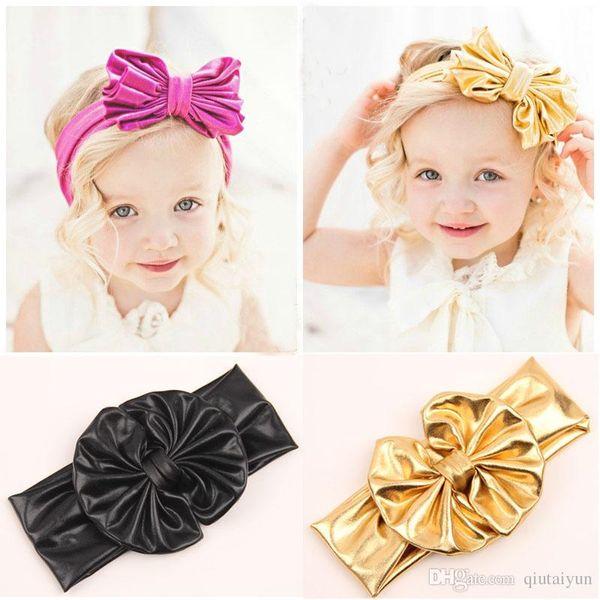 Shiny leather bow headband for children baby girls big elastic metal color head wraps turban bands bandana headband hair accessories B268