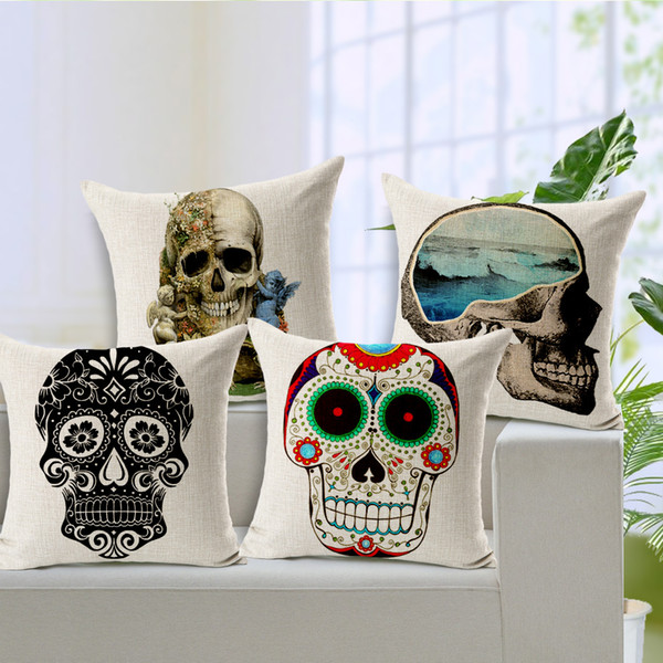 Skull Cushion COOL fashion design Cover Halloween Throw Pillow Case Home Decoratiion sofa set decor Cover 45*45cm