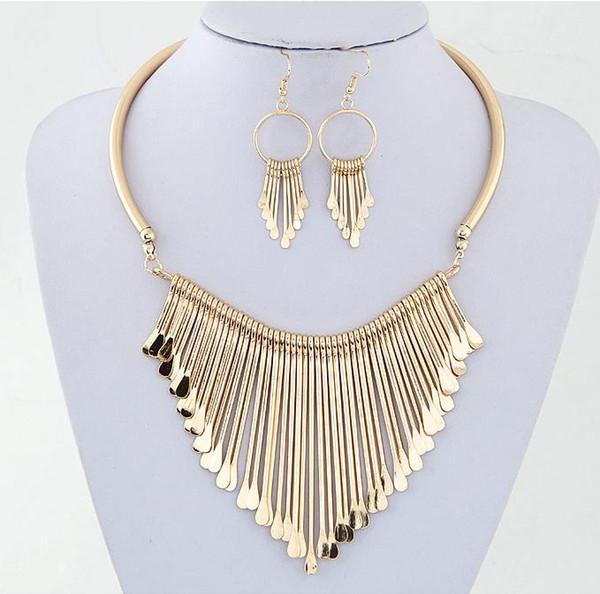 best selling 2019 Fashion Europen Bijoux Jewelry Set Trendy Chunky Tassel Necklaces & Pendants Jewelry Sets Women Earing and Necklace Sets