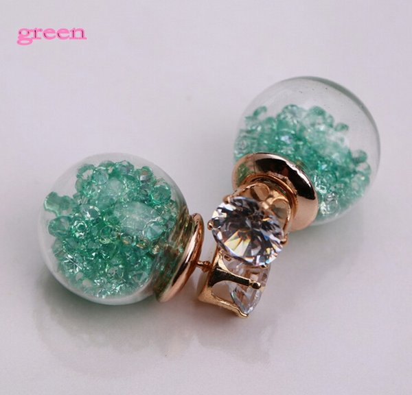 Neue Ankunft 9 Farbe 2015 Sommer Stil Glas Ohrstecker Edlen Schmuck Mode Transparente Kristallkugel Ohrringe für Frauen
