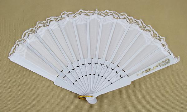 25*44cm White Folding Fan Silk Lace Engraved Gold Pattern Rib Bridal Fan Decor Photo Booth Props wedding/party decoration 50pcs