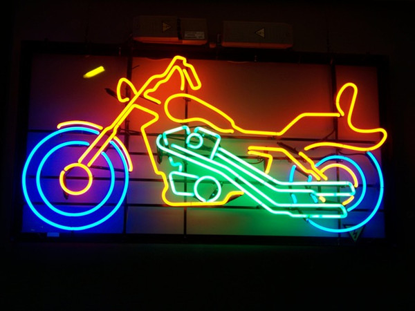 2018 Neon Sign Motorcycle Red Real Glass Tube Customer Bar Light