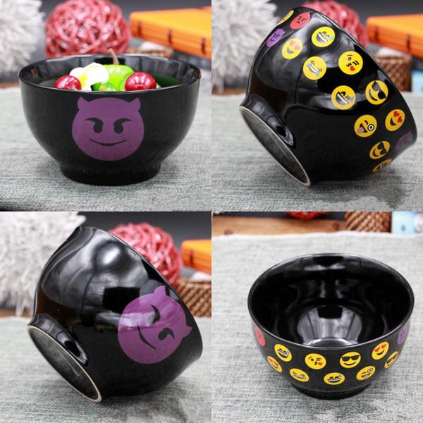 Souriant Visage Céramique Bols Creative Design Emoji Ronde Salad Bol Vaisselle Maison Cuisine Accessoires Haute Qualité 5 5qj CB