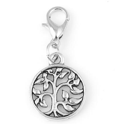 20pcs/lot Silver Family Tree Of Life Plates Dangle Charms Pendant With Lobster Clasp Fit For Glass Floating Locket Jewelrys