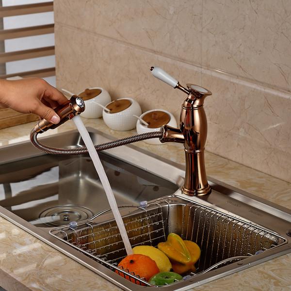 Lusso Rose Golden Pull Out Kitchen Faucet Maniglia in ceramica Vanity Vessel Sink Mixer Tap acqua calda e fredda