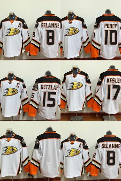 Anaheim Ducks 17 kesler 15 getzlaf 10 perry blank 8 سيلان أبيض هوكي الجليد الفانيلة ، أفضل جودة ، الفانيلة السعر المنخفض أعلى جودة