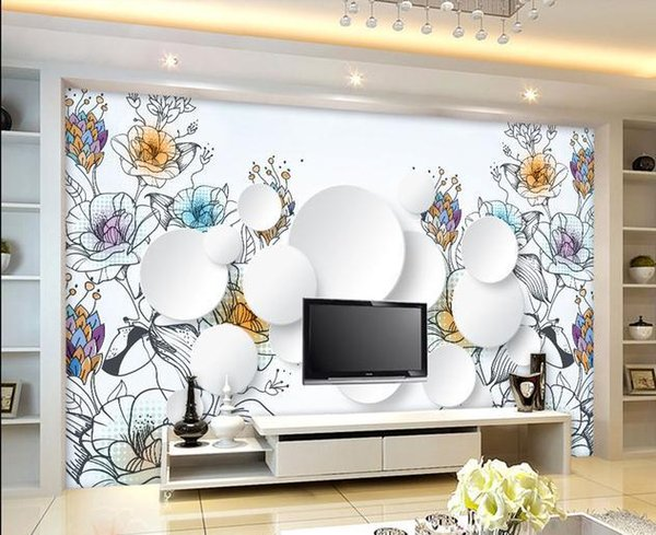 Customize wallpaper papel de parede Multicolored lines of hand-painted flowers wall sticker 3d wallpaper Free shipping6903