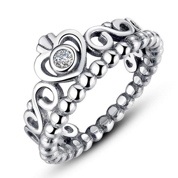 Frauen-Silberring-Kronen-Silber-Schmucksache-Silber passt für Pandora-Art für Damen-Mädchen-Marken-Ringe Freies Verschiffen