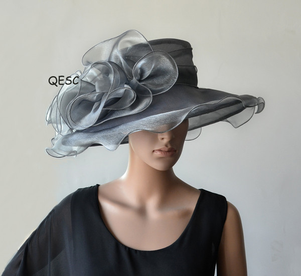 top popular Silver grey Crystal Organza Hat with Large Organza Trim for wedding Kentucky derby.brim width 13.5cm.FREE SHIPPING 2019