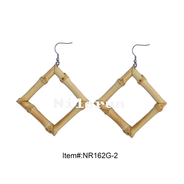 best selling Fashionable handmade square natural bamboo earrings