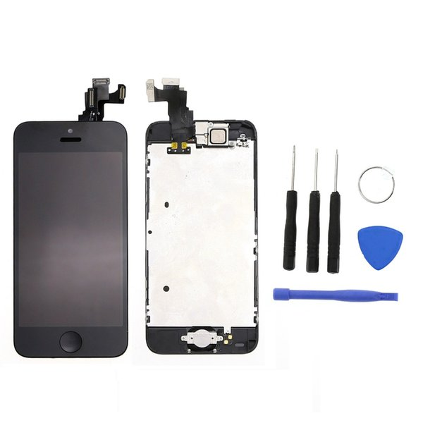 Wholesale-Black For  5C LCD touch screen Display with digitizer + Bezel Frame + Home button flex cable + Front Camera + Open Tools