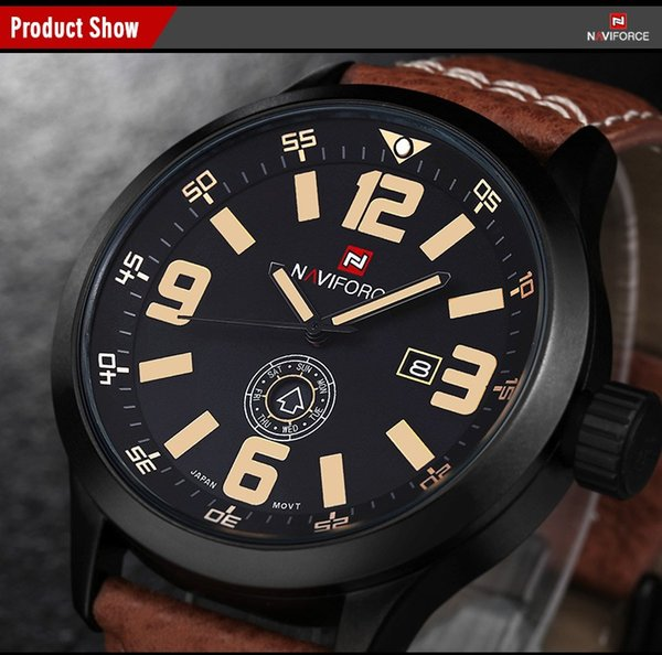 Men's outdoor Casual Watches Day Date Clock brand name numbers dial high quality Genuine Leather Strap Military sport male wrist watch