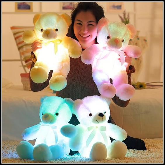 4 Cores 50 cm Colorido Brilhante Urso de Pelúcia Luminosa Brinquedos De Pelúcia Kawaii Light Up LED Urso de Pelúcia Boneca de Pelúcia Crianças Brinquedos de Natal CCA8353 10 pcs