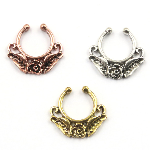 10pcs NEW hot sell body jewelry alloy silver and rose gold rose flower faux piercing hoop clip fake nose ring septum for women N0052