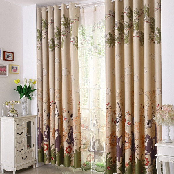 best selling Free shipping Eco-friendly Curtains For Kids Cartoon Curtains + Tulle  Sheer curtains 100%Blackout Curtains Double Sides Printed