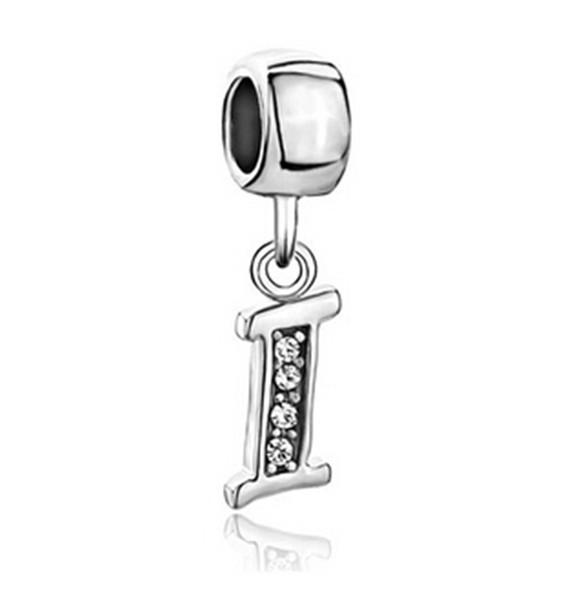 Cristallo in stile Pandora I J K L M N O P lettera alfabeto ciondolo perlina iniziale europea in metallo con perline per braccialetto con perline