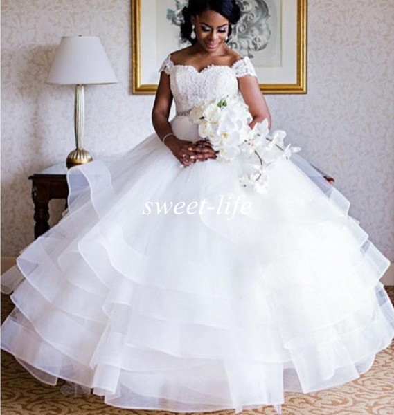 Discount 2020 Wedding Dresses Lace Ball Gown Backless Off Shoulder Plus Size Nigerian Bridal Gowns Formal Party Wear Wedding Dresses Under 1000