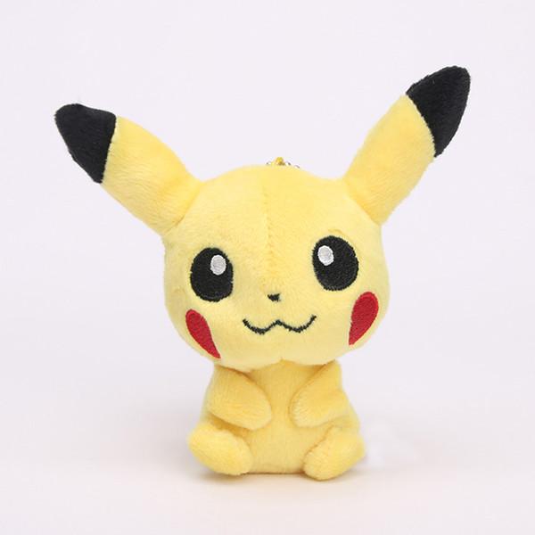 600 adet 11 cm Karikatür anime Pikachu anahtarlık Pikachu Peluş Oyuncaklar kolye Bebekler Halka ile Yumuşak Dolması Bebekler