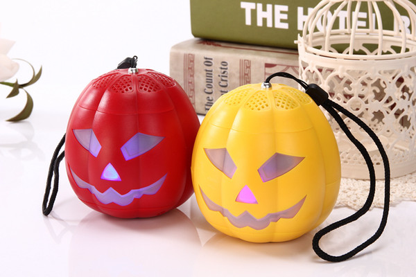 20pcs--WSA-8614 Halloween Funny Pumpkin Light Mini Bluetooth Speaker Round Outdoor Speaker Speaker