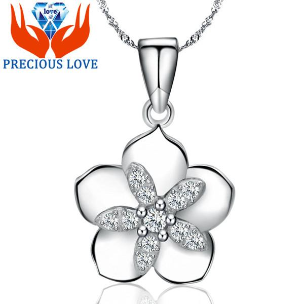 925 Sterling Silver Necklace with Korean micro cute little flower pendant 2015 new silver jewelry boutique D-301