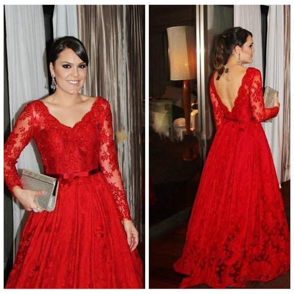 2018 Plus Size Long Sleeves Formal Evening Dresses Full Lace Sexy Prom Gowns Women A Line Elengnt Red Prom Gowns