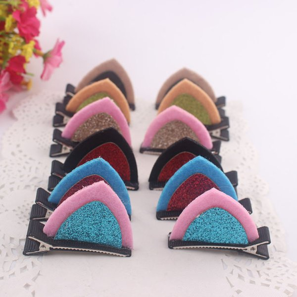 Cute cat rabbit ears hair clips for children girls 6 colors fabric hair accessories 3.5*5cm clips wholesale