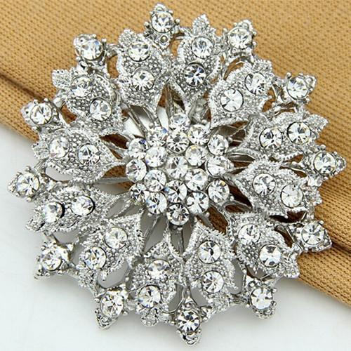 Vintage Stylish Rhodium Plated Alloy Crystal Rhinestone Wedding Bridal Bouquet Flower Brooch Jewelry Cheapest Price Women Gift Brooch Pin