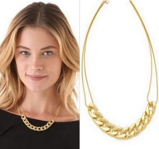 5PX Celebrity Design style punk Golden Gold color metal link chain charm necklace Neckwear