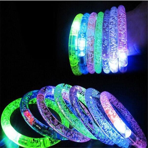 Pulsera LED Flash Blink Glow Color Changing Light Acrílico Juguetes para niños Lámpara Luminous Hand Ring Fiesta Fluorescence Club Stage Bracele