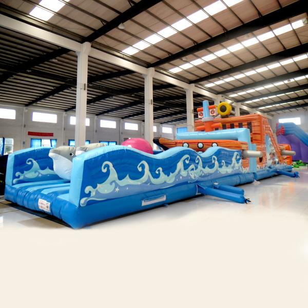 AOQI inflatable fun city inflatable Two in one pirate boat fun city inflatable fun land for kids for sale made in China