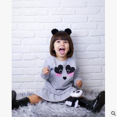INS explosion models long sleeve girls autumn and winter dresses Panda head printing children baby baby skirt children skirts