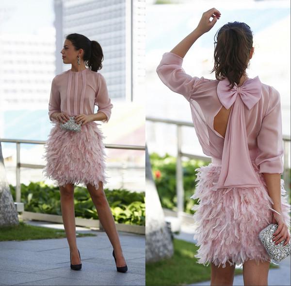 blush vintage Vestidos de fiesta cortos con plumas 2019 Rosa mangas largas con espalda abierta con arco dubai Árabes Vestidos de noche Vestidos de fiesta
