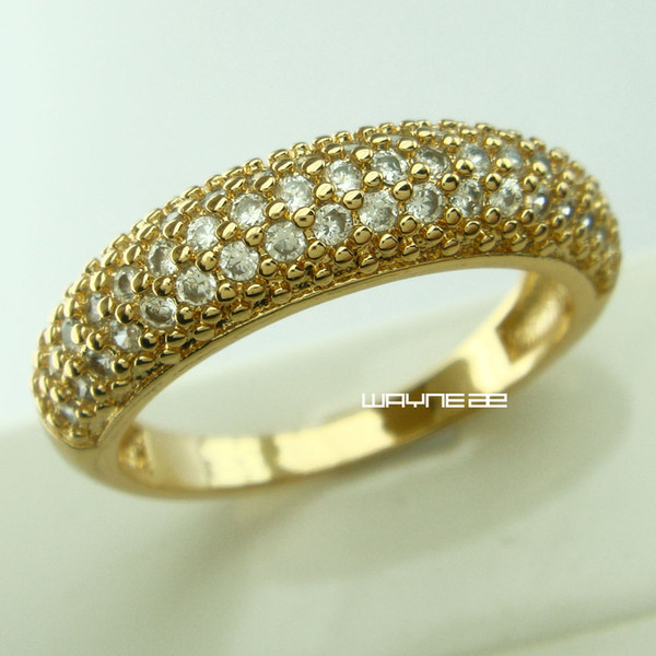 18 GOLD Filled SIMULATED DIAMOND WEDDING ETERNITY WOMENS RINGS sz M-S R266