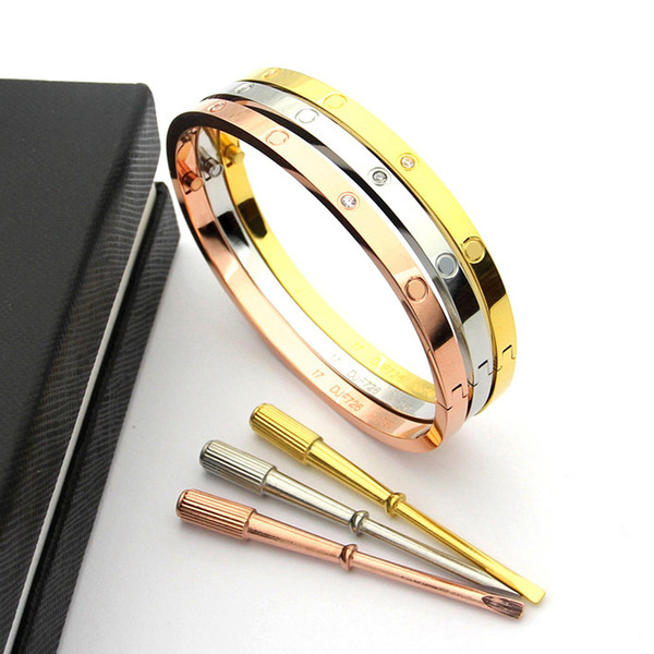 316lL Titanium Steel skinny 4mm Love Bracelets silver rose gold Bangles Women Men Screw Screwdriver with diamonds Bracelet Fashion Jewelry