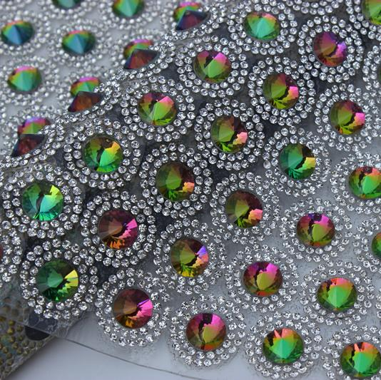 24*40cm AB Colorful 10mm Satellite Crystal Stone 2mm Clear Rhinestone mesh trimming for wedding appliques decoration