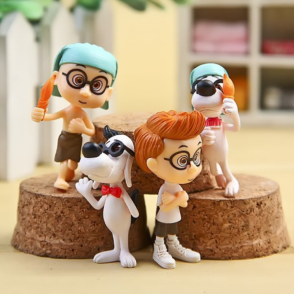 Lot of 4pcs Mr. Peabody & Sherman Movie PVC Mini Action Figure set cartoon Doll figurines playset Toy Cup Cake Topper desktop kids gift