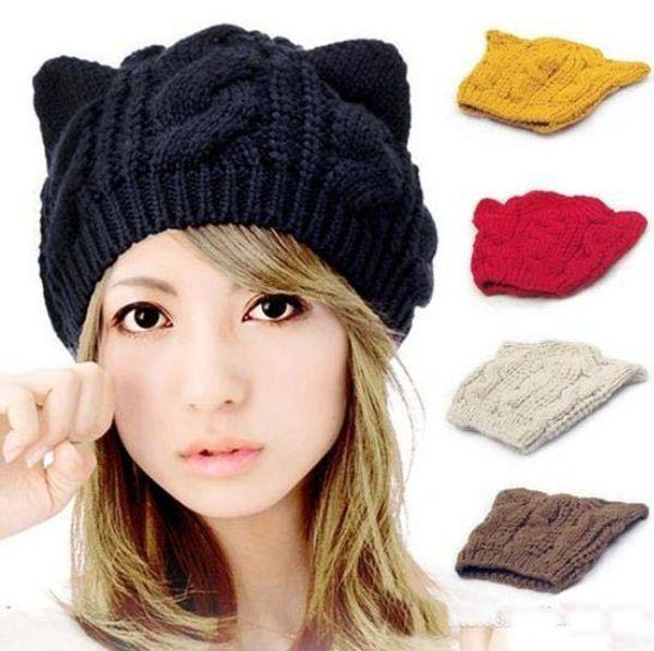 Cat Ears Cute Hats for women brand knitting warm korean fashion hot selling lovely Beanies Winter knitted Cap