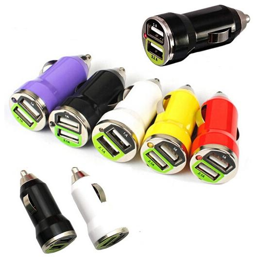 20pcs Mini Bullet Dual USB 2 Ports Car Charge Adapter Traveling Accessory Universal Charging For iphone 6 6s 6s plus Samsung S6 S6 edge plus