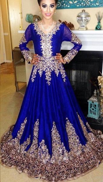 Großhandel Royal Blue Abendkleider Lange Spitze 2018 Jewel Neck ...