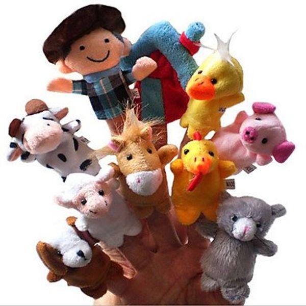 Peluche per bambini Animal Velvet Old Macdonald Had a Farm Finger Puppets 10 pezzi / confezione Peluche Finger Puppets che raccontano storie bambole learing