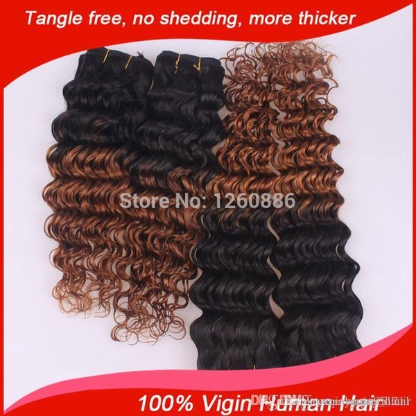 6a Unprocessed Brazilian Virgin Deep Wave Curly Ombre Two Tone Cheap