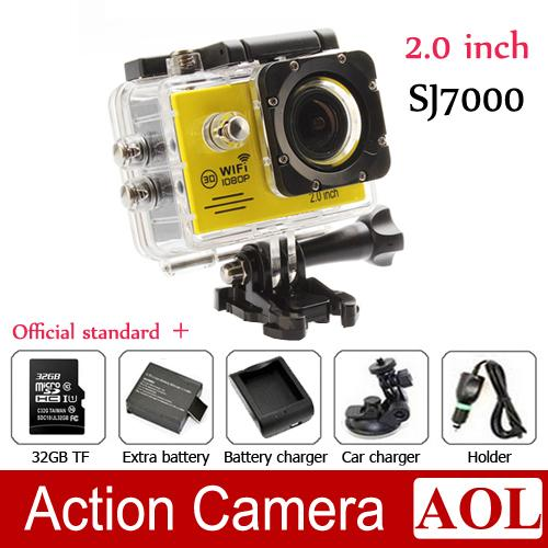 SJ7000 1080P Full HD WiFi Sports Camera 60FPS 12MP Waterproof Action Camera +32GB TF Battery Charger Car bracket 2.0LCD Helmet Video DVR