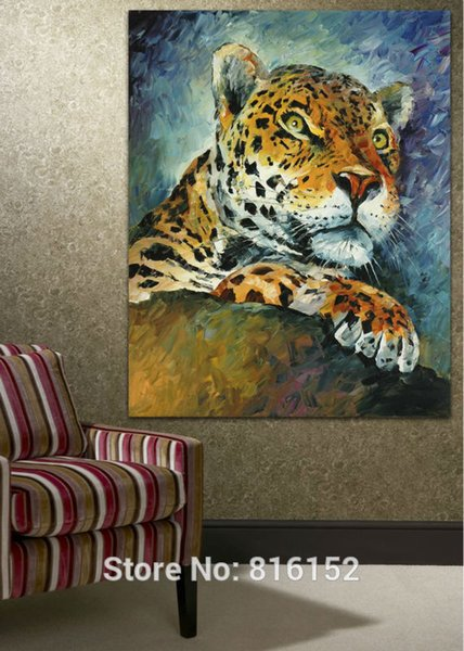 Leopard African Wild Animal Wall Painting Palette Knite Oil Picture Canvas Prints Mural Art for Home Room Wall Decor