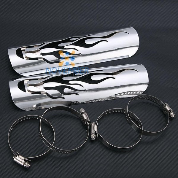 Hollow Flame Motorcycle Exhaust Muffler Heat Shield Cover Heel Guard Exhaust Pipe Shield For Honda Kawasaki Yamaha Suzuki Harley order<$18no