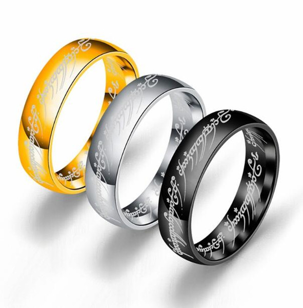 top popular DHL 6MM Mens Gold Rings Size 6 -13 Gold Plated Stainless Steel Hobbit And Lord of the Ring Band Wedding Engagement Husband Gifts 2019