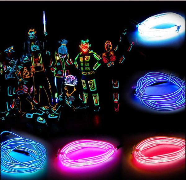 5M LED Neonröhre Flexible Streifen Licht Pink Gelb Rot Weiß Grün Blau EL Glow Draht mit Controller für Party Cars angetrieben