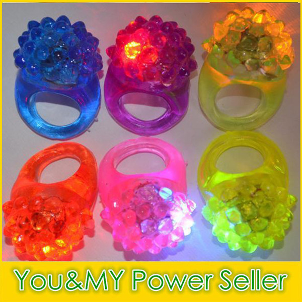 best selling Edison2011 Strawberry Glow Light Ring Touch LED Finger Ring Lights Flash Beams Light Halloween Party LED Toys Wedding Free Shipping